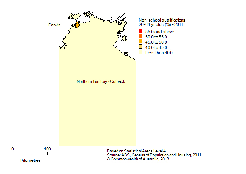 Map: Population with non-school qualifications, 20-64 year olds, Northern Territory, 2011