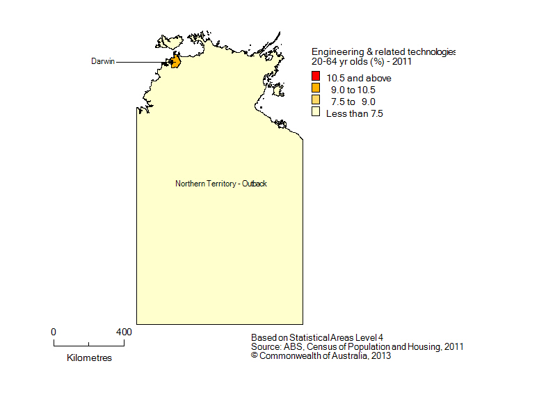 Map: Non-school qualifications in engineering and related technologies, 20-64 year olds, Northern Territory, 2011