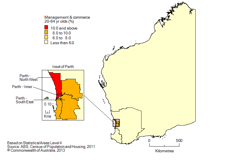 Map: Non-school qualifications in managment and commerce, 20-64 year olds, Western Australia, 2011