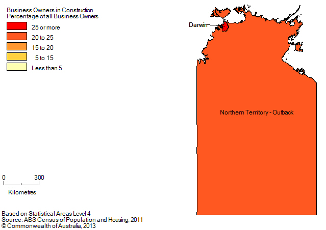 Map: PERCENTAGE OF BUSINESS OWNERS IN THE CONSTRUCTION INDUSTRY BY SA4 (a), Northern Territory - 2011