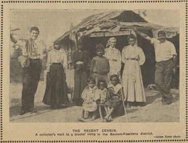 A Census collector with Indigenous people in the Boonah-Fassifern district of Queensland in 1911