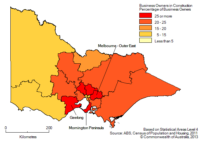 Map: PERCENTAGE OF BUSINESS OWNERS IN THE CONSTRUCTION INDUSTRY BY SA4(a), Victoria - 2011