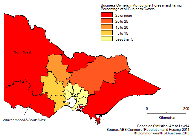 Map: PERCENTAGE OF BUSINESS OWNERS IN THE AGRICULTURE, FORESTRY AND FISHING INDUSTRY BY SA4(a), Victoria - 2011