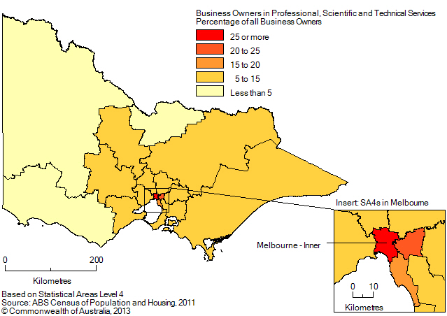 Map: PERCENTAGE OF BUSINESS OWNERS IN THE PROFESSIONAL, SCIENTIFIC AND TECHNICAL SERVICES INDUSTRY BY SA4 (a), Victoria - 2011