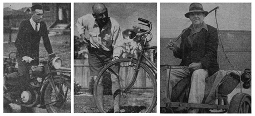 Photographs of three census collectors from 1947, on motorbike, bicycle and sulky.