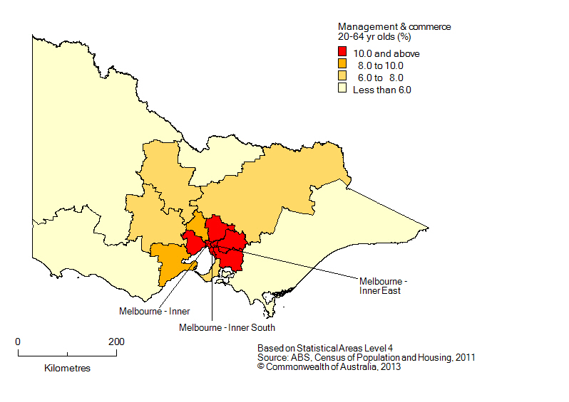 Map: Non-school qualifications in management and commerce, 20-64 year olds, Victoria, 2011