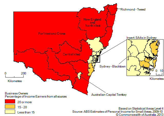Map: BUSINESS OWNERS (a), Percentage of income earners by SA4, New South Wales and the Australian Capital Territory - 2009-10