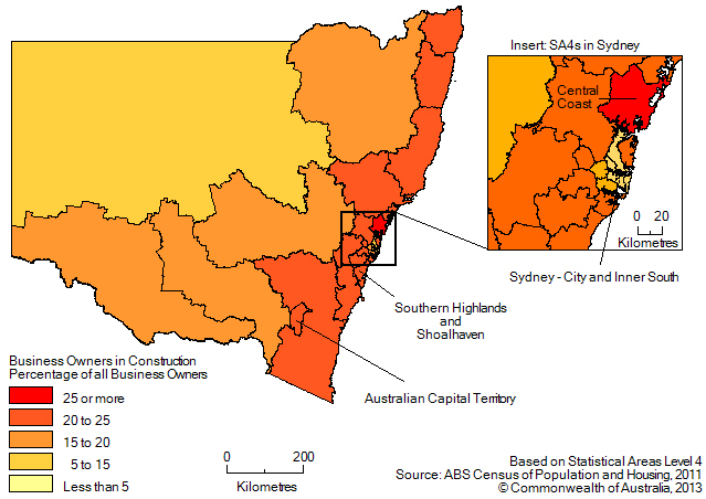 Map: PERCENTAGE OF BUSINESS OWNERS IN THE CONSTRUCTION INDUSTRY(a), New South Wales and the Australian Capital Territory - 2011