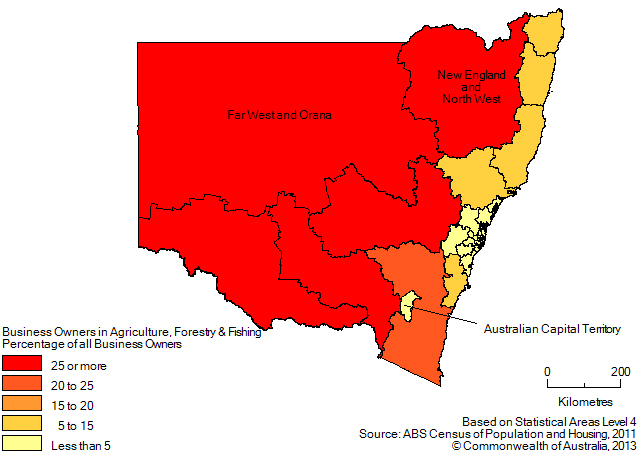 Map: PERCENTAGE OF BUSINESS OWNERS IN THE AGRICULTURE, FORESTRY AND FISHING INDUSTRY(a), New South Wales and the Australian Capital Territory - 2011