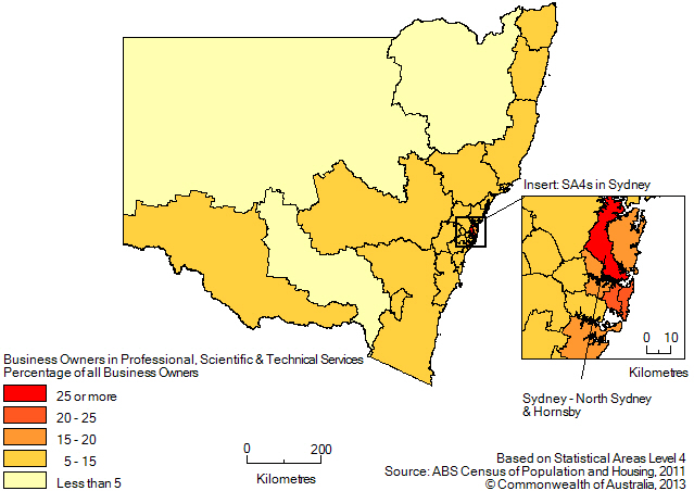 Map: PERCENTAGE OF BUSINESS OWNERS IN THE PROFESSIONAL, SCIENTIFIC AND TECHNICAL SERVICES INDUSTRY(a), New South Wales and the Australian Capital Territory - 2011