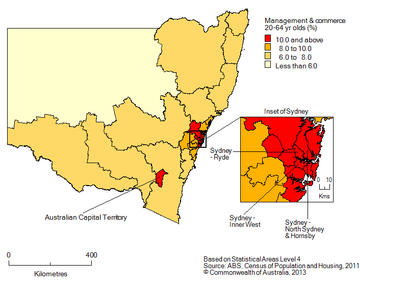Map: Non-school qualifications in management and commerce, 20-64 year olds, New South Wales, 2011
