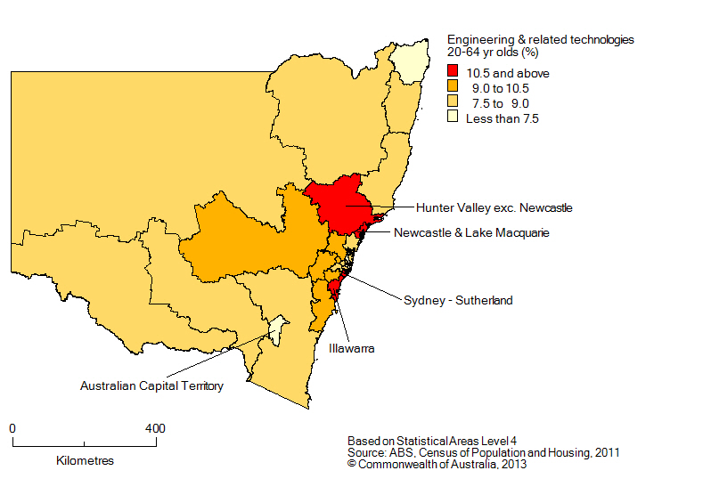 Map: Non-school qualifications in engineering and related technologies, 20-64 year olds, New South Wales, 2011