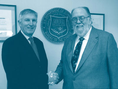Dennis Trewin, former Australian Statistician, meeting Charles Louis Kincannon, former Director of the US Census Bureau