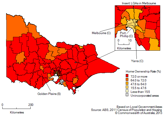 Map:Home ownership rates by LGA, Victoria, 2011