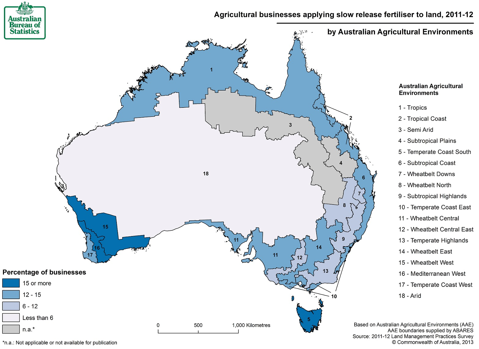 Image: Map of slow release fertiliser use