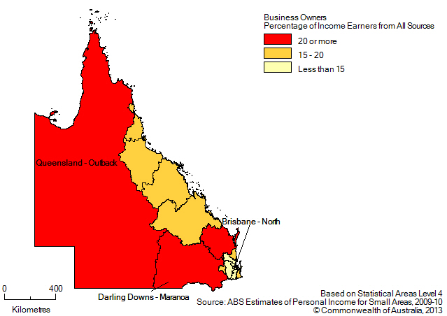 Map: BUSINESS OWNERS (a), Percentage of income earners by SA4, Queensland- 2009-10