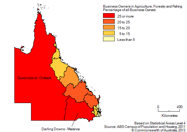 Map: PERCENTAGE OF BUSINESS OWNERS IN THE AGRICULTURE, FORESTRY AND FISHING INDUSTRY BY SA4(a), Queensland - 2011