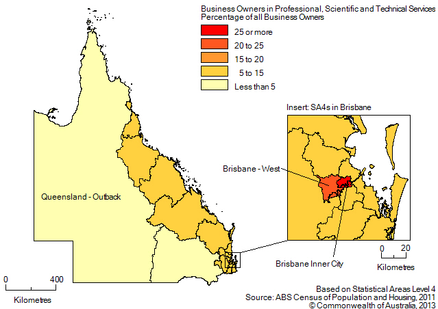 Map: PERCENTAGE OF BUSINESS OWNERS IN THE PROFESSIONAL, SCIENTIFIC AND TECHNICAL SERVICES INDUSTRY BY SA4(a), Queensland - 2011