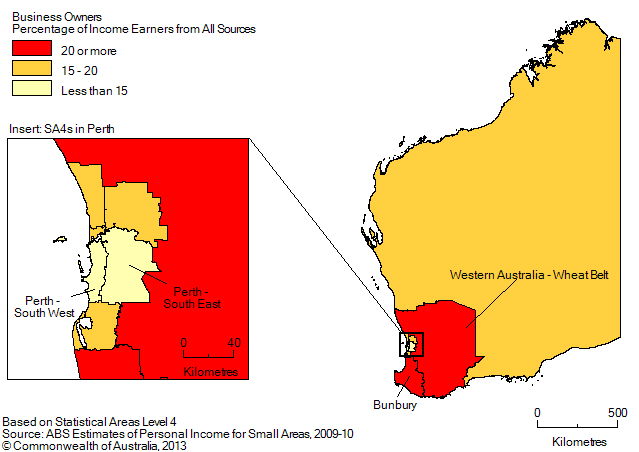 Map: BUSINESS OWNERS (a), Percentage of income earners by SA4, Western Australia- 2009-10