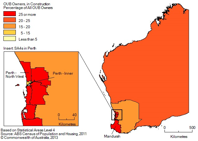 Map: PERCENTAGE OF BUSINESS OWNERS IN THE CONSTRUCTION INDUSTRY BY SA4(a), Western Australia - 2011