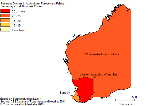 Map: PERCENTAGE OF BUSINESS OWNERS IN THE AGRICULTURE, FORESTRY AND FISHING INDUSTRY BY SA4(a), Western Australia - 2011