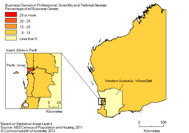 Map: PERCENTAGE OF BUSINESS OWNERS IN THE PROFESSIONAL, SCIENTIFIC AND TECHNICAL SERVICES INDUSTRY BY SA4(a), Western Australia - 2011