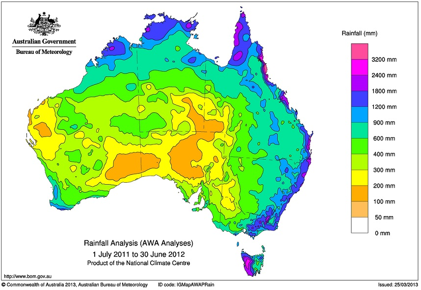 Bureau of Meterology map Rainfall Deciles (AWA Analyses)