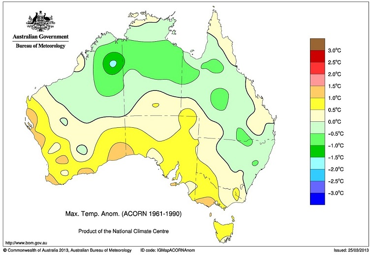 Bureau of Meterology map, Max. Temp. Anom. (ACORN 1961-1990)