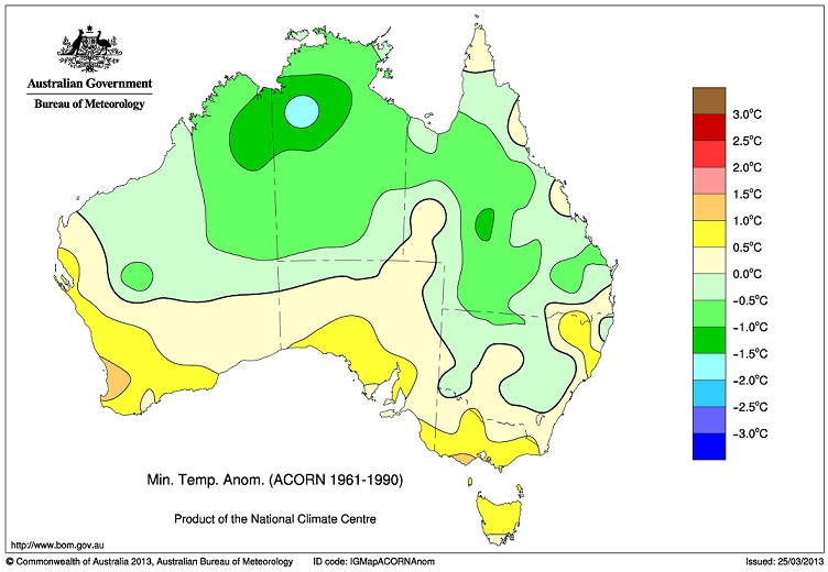 Bureau of Meterology map, Min. Temp. Anom. (ACORN 1961-1990).