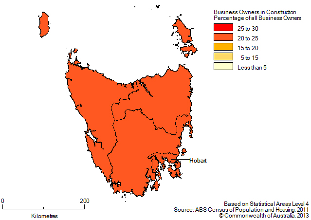 Map: PERCENTAGE OF BUSINESS OWNERS IN THE CONSTRUCTION INDUSTRY BY SA4(a), Tasmania - 2011