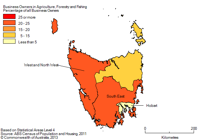 Map: PERCENTAGE OF BUSINESS OWNERS IN THE AGRICULTURE, FORESTRY AND FISHING INDUSTRY BY SA4(a), Tasmania - 2011