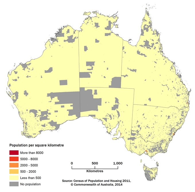 Figure 1, A map of Australia showing the population density of Mesh Blocks in five density ranges