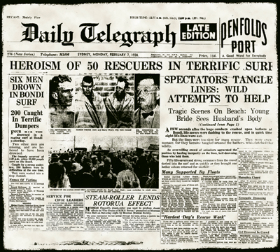 Collage from the Daily Telegraph, 7 February 1938.