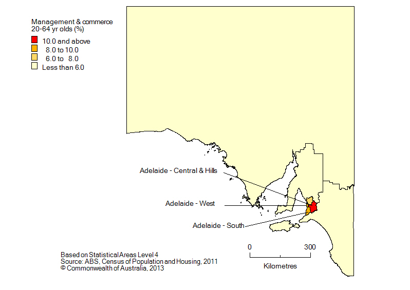 Map: Non-school qualifications in management and commerce, 20-64 year olds, South Australia, 2011