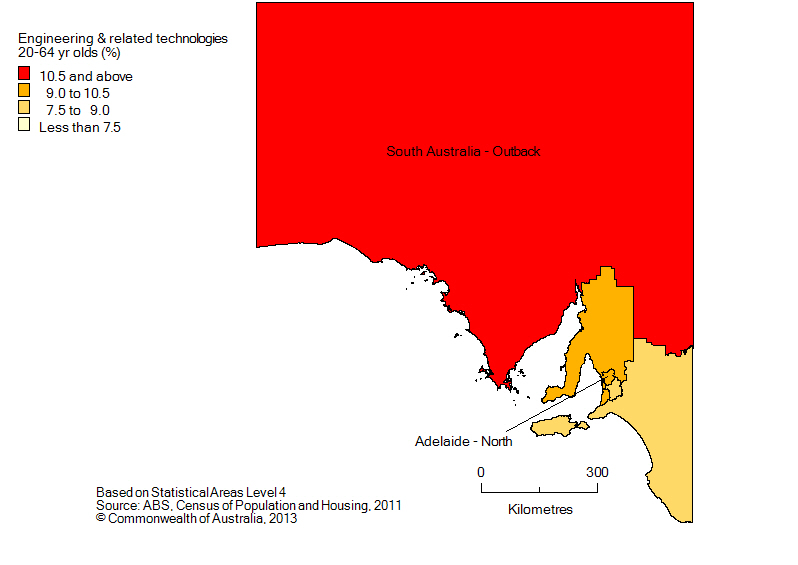 Map: Non-school qualifications in engineering and related technologies, 20-64 yr olds, South Australia, 2011