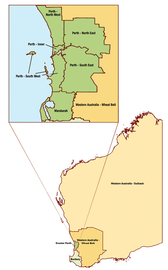 Map of Western Australia with inset of Greater Perth Region