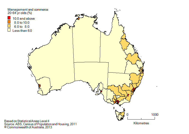 Map: Non-school qualifications in management and commerce, 20-64 year olds, Australia, 2011