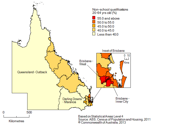 Map: Population with non-school qualifications, 20-64 year olds, Queensland, 2011