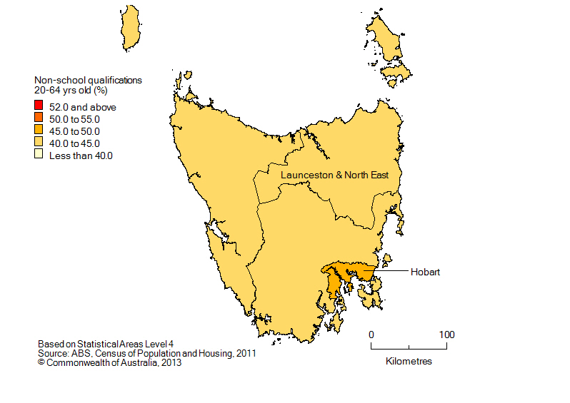 Map: Population with non-school qualifications, 20-64 year olds, Tasmania, 2011