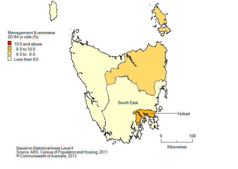 Map: Non-school qualifications in management and commerce, 20-64 year olds, Tasmania, 2011