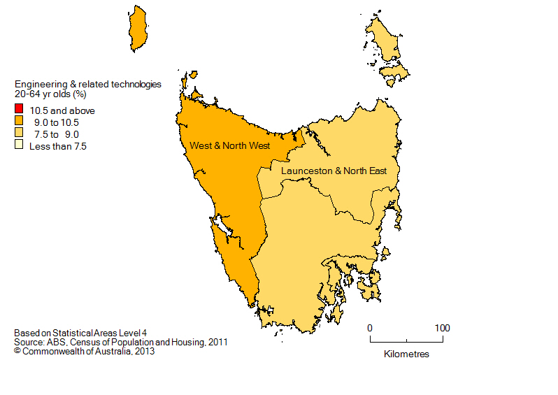 Map: Non-school qualifications in engineering and related technologies, 20-64 year olds, Tasmania, 2011
