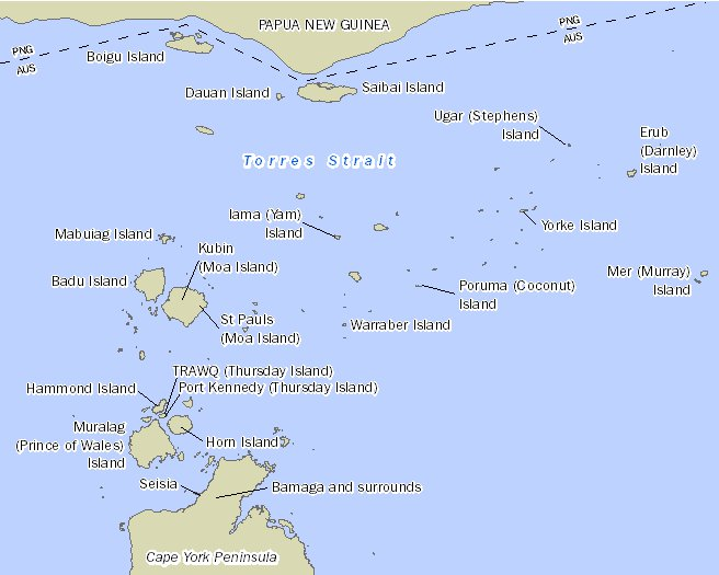 Image: Map showing the location of the 20 Torres Strait communities with Papua New Guinea to the north and Cape York Peninsula to the south