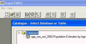 Image shows the ABS dataset installed in the SuperTABLE Catalogue.                                              The dataset can now be used by everone whose SuperTABLE Catalogue points to the common folder