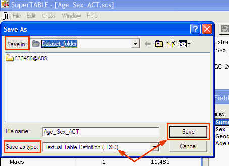 Image shows how to save the dataset table in a TXD file format
