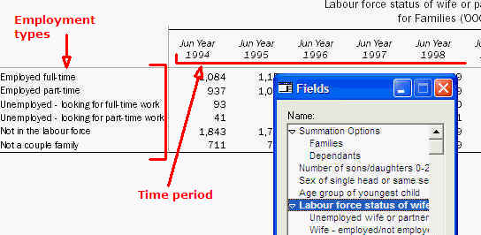 Image shows the Labour force dataset without Summation Options