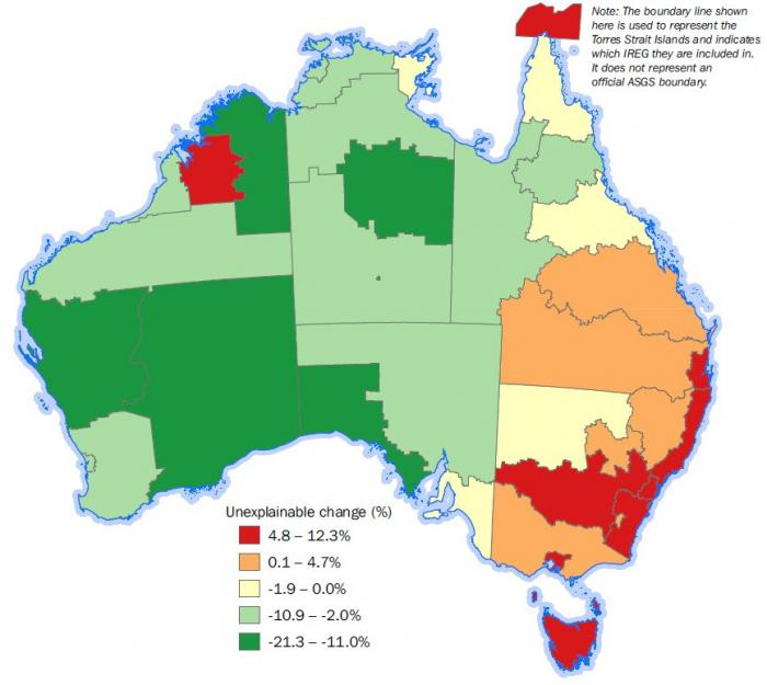 Map: Unexplainable change in counts of Aboriginal and Torres Strait Islanders in Indigenous Regions between 2011 and 2016