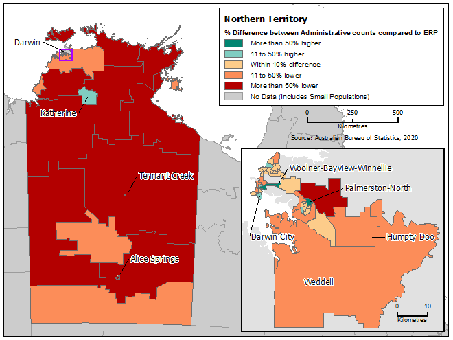 Map of the Northern Territory with Greater Darwin inset, showing percentage difference between administrative counts and ERP for each SA2.