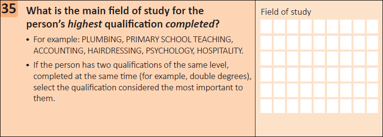 This question seeks information on the main field of study for a person's highest qualification completed.
