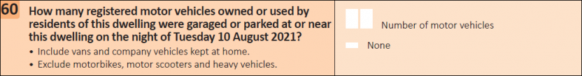 This question seeks information on how many registered motor vehicles were garaged or parked at the dwelling.