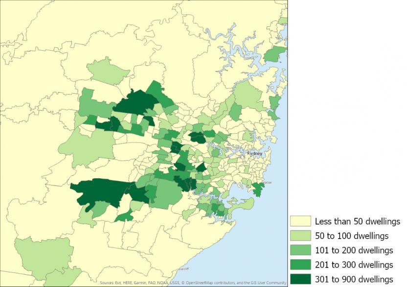Figure 2: Number of townhouses completed, New South Wales SA2s, 2016 to 2019